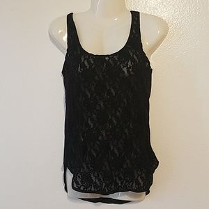 Black lace and mesh tank